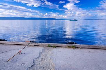 Fishing in Norwegian fjord
