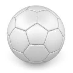 Textured white leather football ball