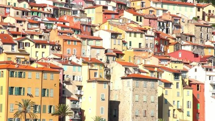 Buildings in the old village of Menton, French Riviera
