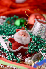 Cheerful christmas santa claus, close up, xmas card