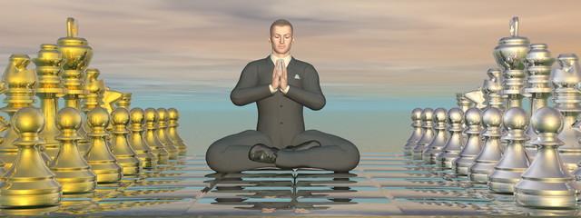 Businessman meditation strategy - 3D render