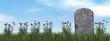 Leinwandbild Motiv Tombstone and beautiful flowers - 3D render