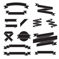 Set of vector ribbons, black design