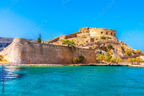 Foto op Aluminium Vestingwerk Round tower of Spinalonga fortress.