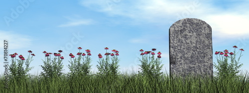 Tombstone and beautiful flowers - 3D render - 70814227