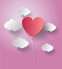 Vector illustration balloon heart fly on sky with sunset.