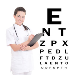 young female doctor ophthalmologist isolated on white background