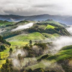 Spring fog on the hills of Tuscany