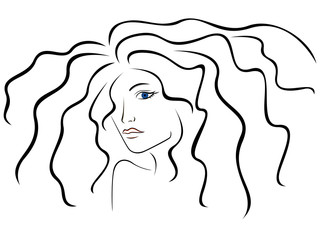 Sketch outline of woman head