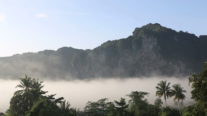 clouds float of tropical mountains in Thailand in the tropics