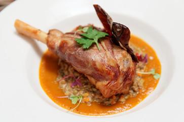 Lamb leg with lentils