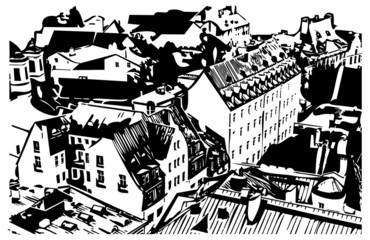 Outline image of old European houses