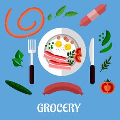 Breakfast with groceries flat design