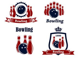 Sporting bowling emblems and symbols