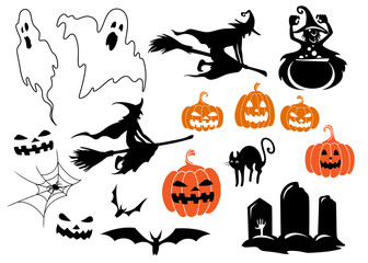 Halloween themed design elements and characters