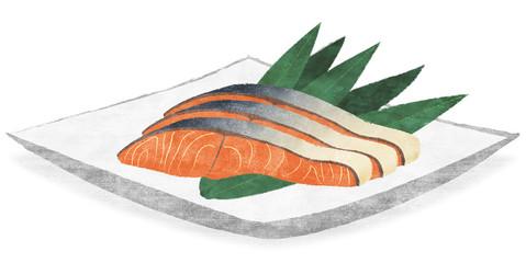 鮭の切り身 お皿乗せ ver_1