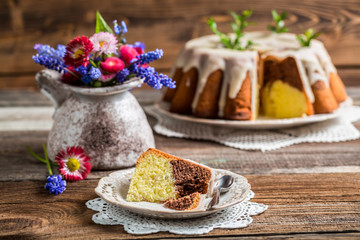 Easter cake and spring flowers