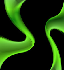 Black Background with green wave curve