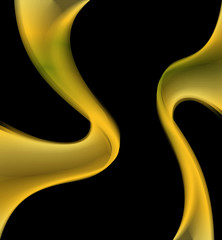 Black Background with yellow wave curve