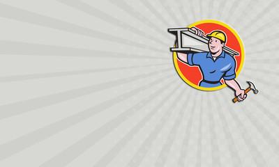 Business card Construction Worker Carry IBeam Circle Cartoon