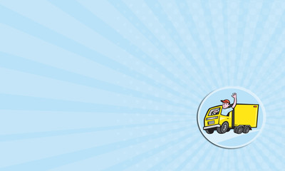 Business card Delivery Truck Driver Waving Cartoon