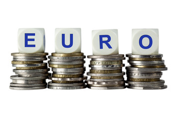 Stacks of coins with the letters EURO isolated on white