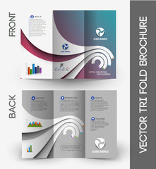 Tri-fold Brochure Design Element. Vector Illustration