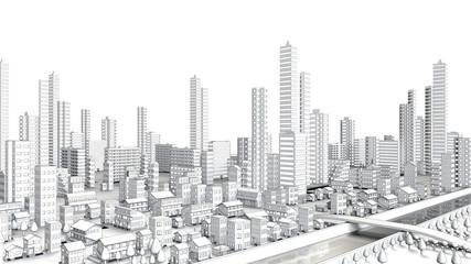 都市部の遠景の線画