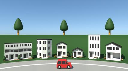 住宅街を走る自動車