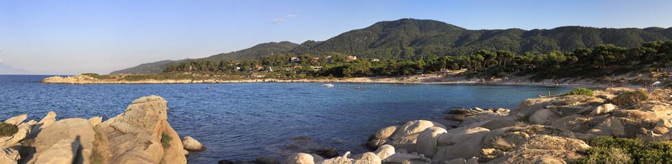 Panorama of Caridi beach in Vourvourou.