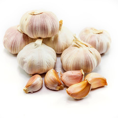 garlic on white background