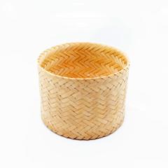 thai basket woven on white background