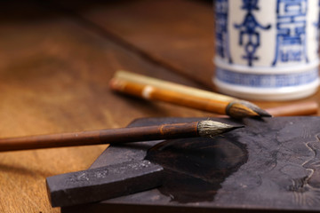 Close up of Chinese Writing Brush