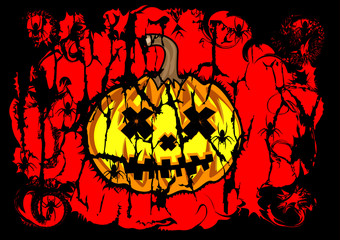 Halloween  background of dark pumpkin  red color