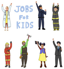 Group of Children in Jobs for Kids Concept