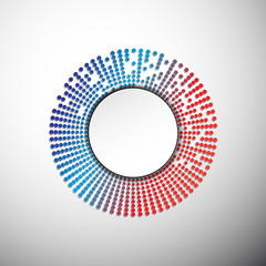 Circle text box design with colorful dots, vector illustration