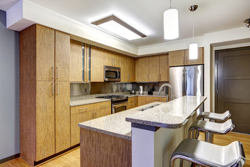 Kitchen interior with granite tops