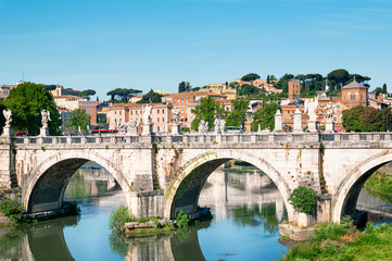 St. Angelo Bridge  and Trastevere district in Rome, Italy