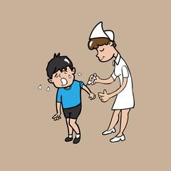 Nurse vaccinates boy