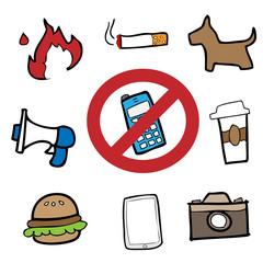 Prohibit signs drawing cartoon