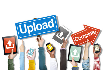Group of Hands Holding Digital Devices with Upload Concept