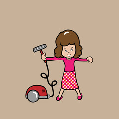 Woman and vacuum cleaner