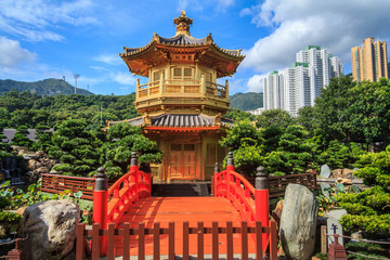 Golden Pavilion With Red Bridge