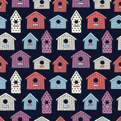 Birdhouses seamless pattern