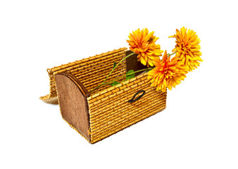 Chrysanthemums are in a small box