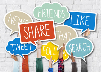 Hands Holding Speech Bubbles Social Media