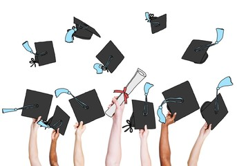 Student's Hands Holding and Throwing Hats