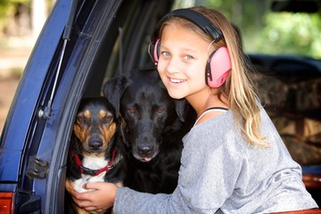 Girl with her dogs