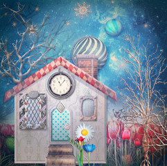 Fairytales house in the forest in the starry night