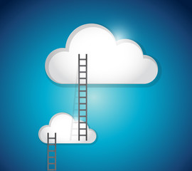 cloud ladder steps illustration design